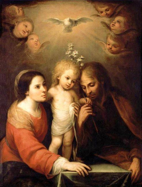 Galamb képében ábrázolt Szentlélek és Szent család Pünkösd húsvéti megkoronázása