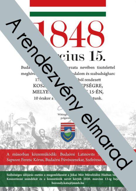 2020 március 15 ünnepség ellenzéki megemlékezés elmarad